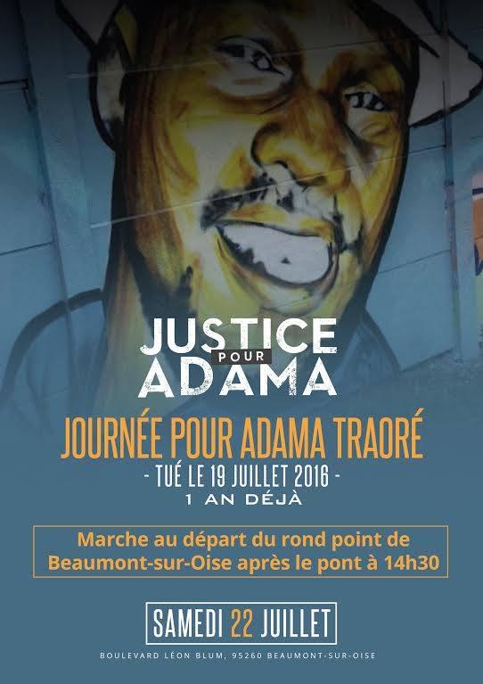 """""""Journée pour Adama Traoré - 1 an déjà"""" le 22 juillet 2017 à Beaumont-sur-Oise"""