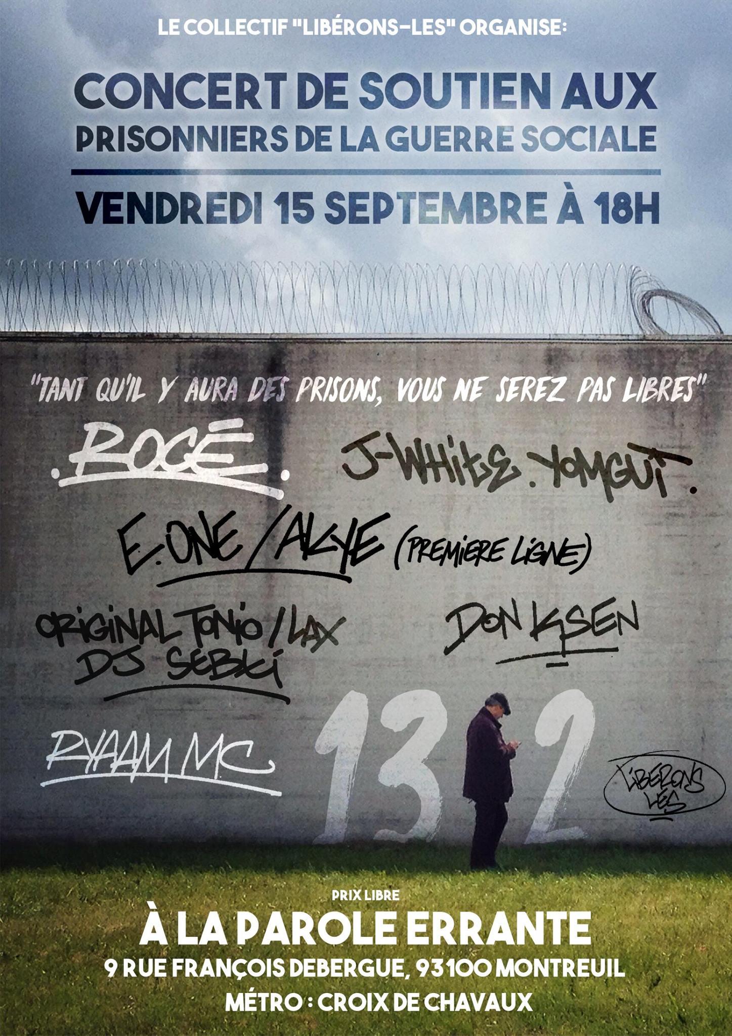 Concert de soutien aux prisonniers de la guerre sociale le 15 septembre 2017 à Montreuil