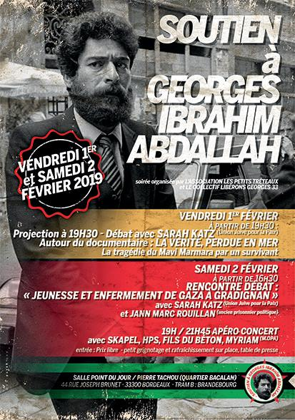 Soutien à Georges Ibrahim Abdallah les 1er et 2 février 2019 à Bordeaux