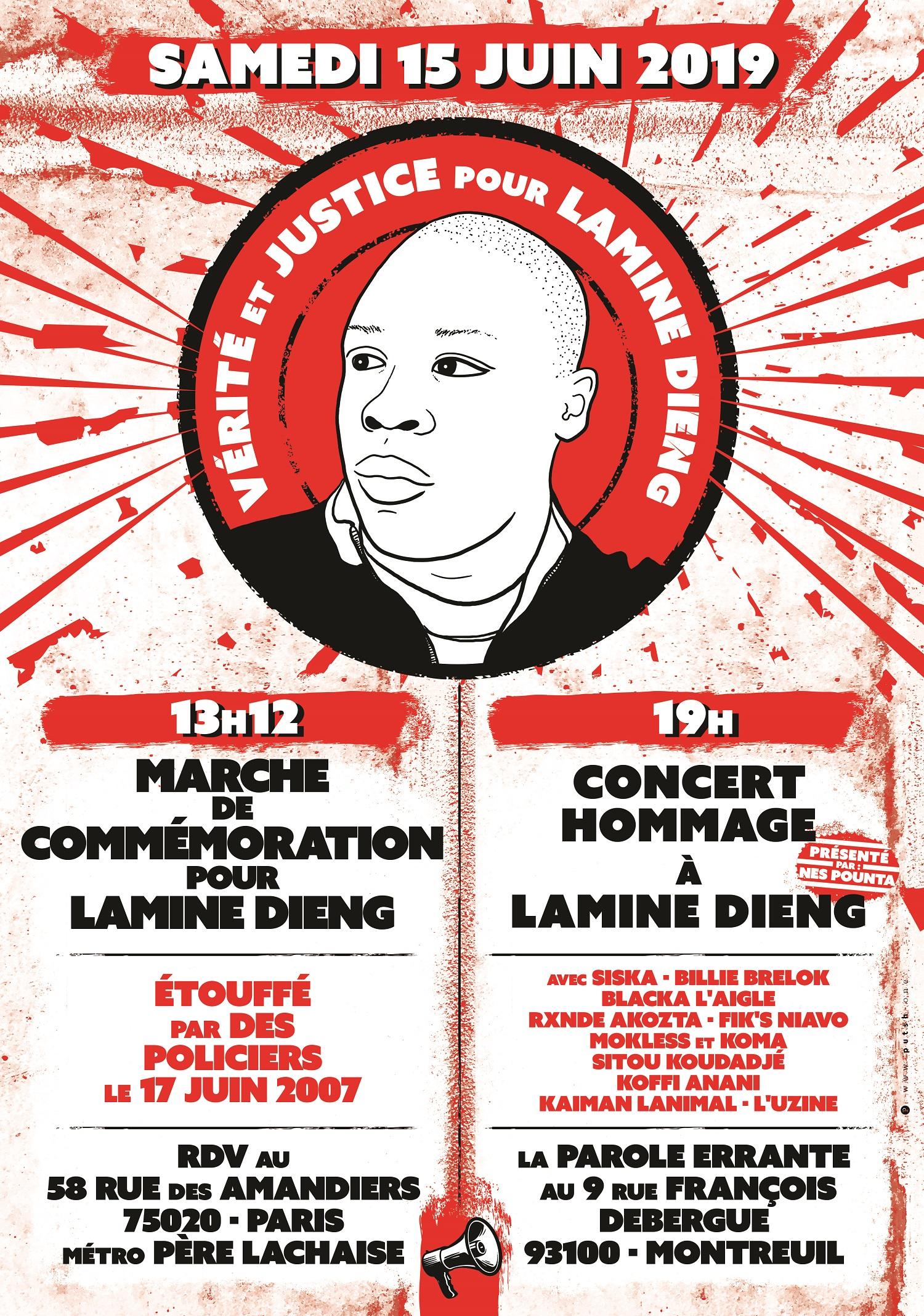 """Marche de commémoration et concert """"Hommage à Lamine Dieng"""" le 15 juin 2019"""