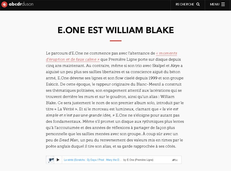 News pour William Blake - Abcdrduson (Décembre 2016)