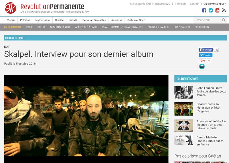 Interview - Révolution Permanente (Octobre 2015)
