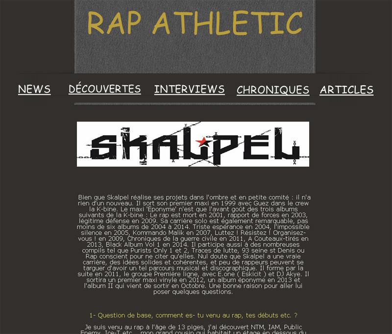 Interview - Rap-Athletic (Décembre 2015)
